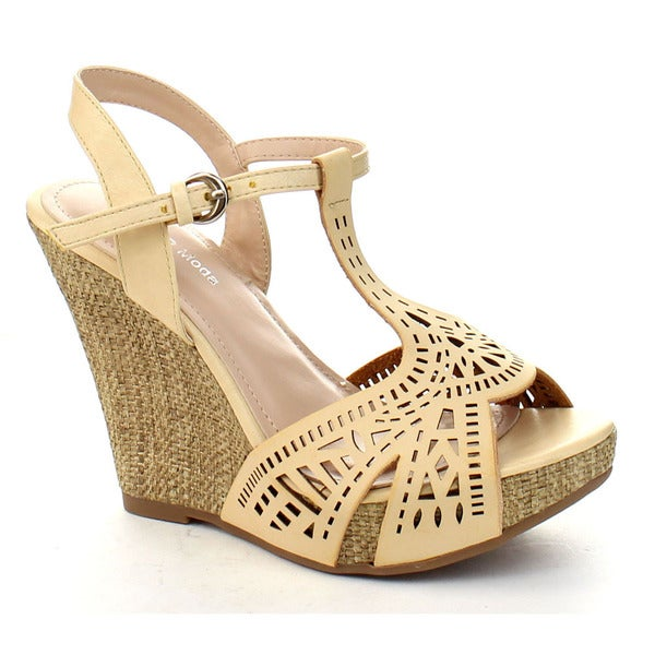 Top Moda Legend-1 Women's Peep Toe T-starp Cut Out Platform Wedge Sandals