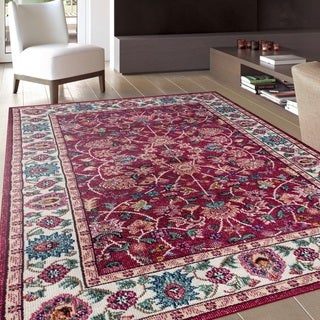 Traditional Oriental Red Soft Indoor Area Rug (7'10 x 10'2)