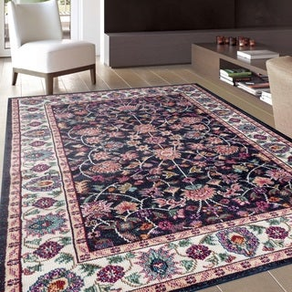 Traditional Oriental Navy Soft Indoor Area Rug (7'10 x 10'2)