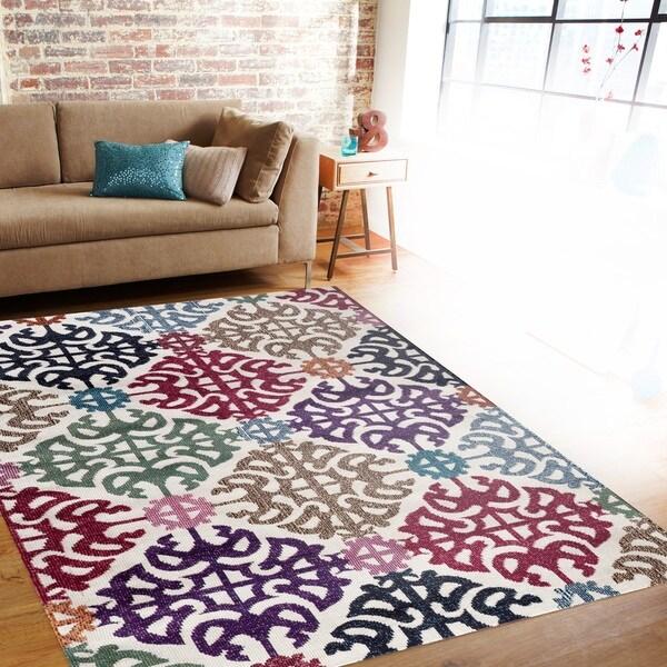 Contemporary Geometric Multi Color Soft Indoor Area Rug (7'10 x 10'2)