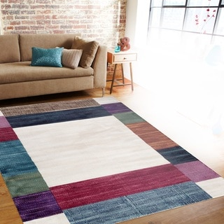 Contemporary Modern Boxes Multi Soft Indoor Area Rug (5'3 x 7'3)