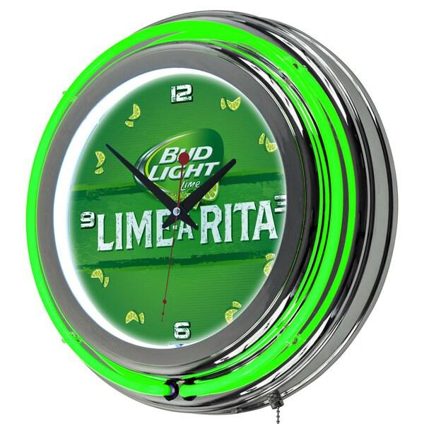 Bud Light Chrome Double Ring Neon Clock