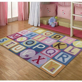 Hand-tufted ABC Pink Kids Rug