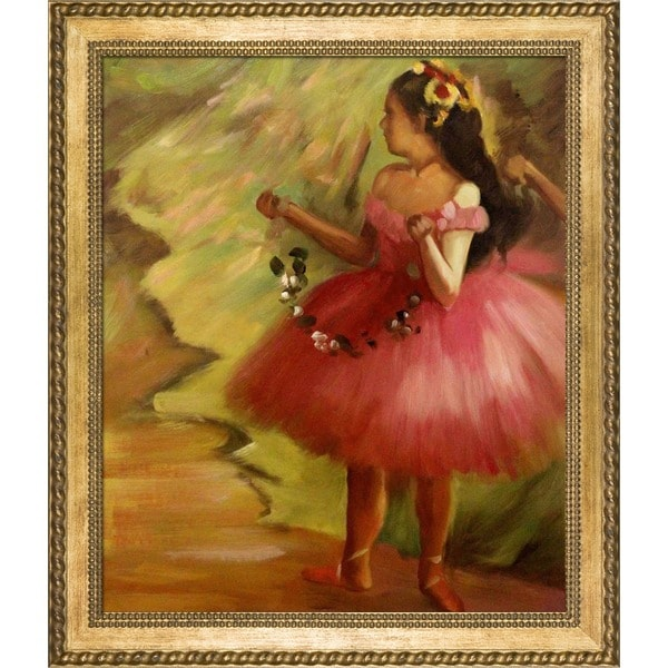 Edgar Degas 'Dancer in Pink Dress' Hand Painted Framed Canvas Art 16427398