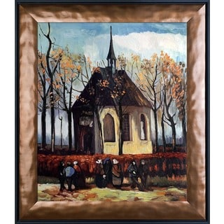 Vincent Van Gogh 'Congregation Leaving the Reformed Church in Nuenen' Hand Painted Framed Canvas Art