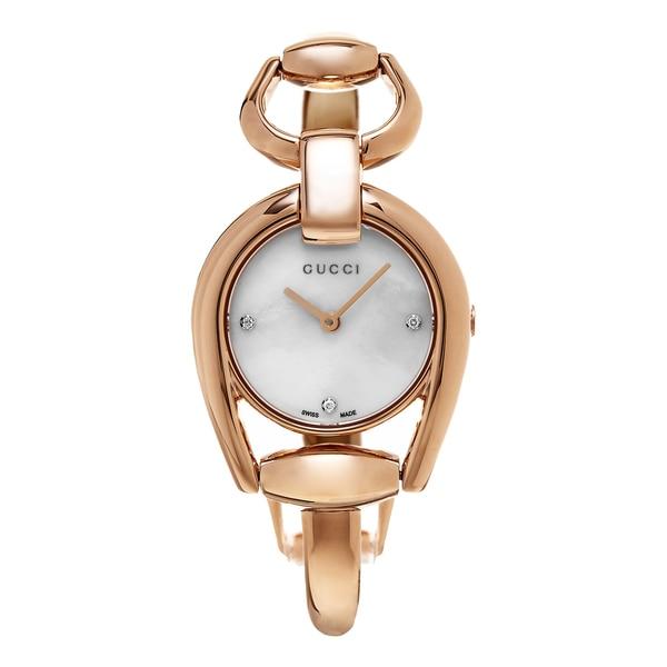 Gucci Women's YA139508 'Horse bit' Mother of Pearl Diamond Dial Rose Goldtone Stainless Steel Bangle Swiss Quartz Watch