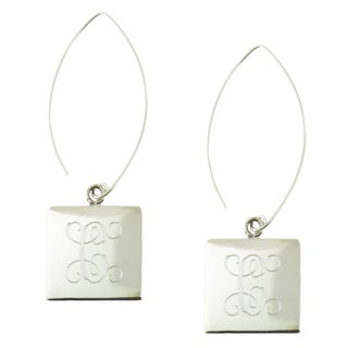Handcrafted Sterling Silver High Polish Square Engraved Dangle Earrings (Mexico)