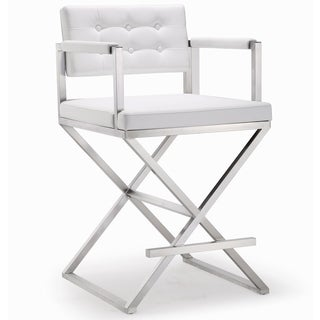Director White Stainless Steel Counter Stool