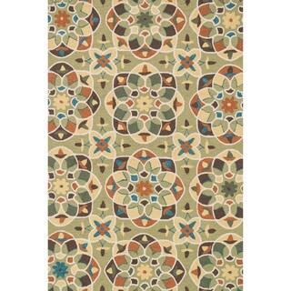 Hand-hooked Charlotte Green/ Spice Kaleidoscope Rug (7'6 x 9'6)