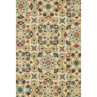 Hand-hooked Charlotte Green/ Spice Kaleidoscope Rug (3'6 x 5'6)