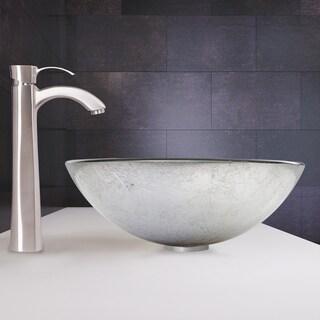 VIGO Simply Silver Glass Vessel Sink and Otis Faucet Set in Brushed Nickel
