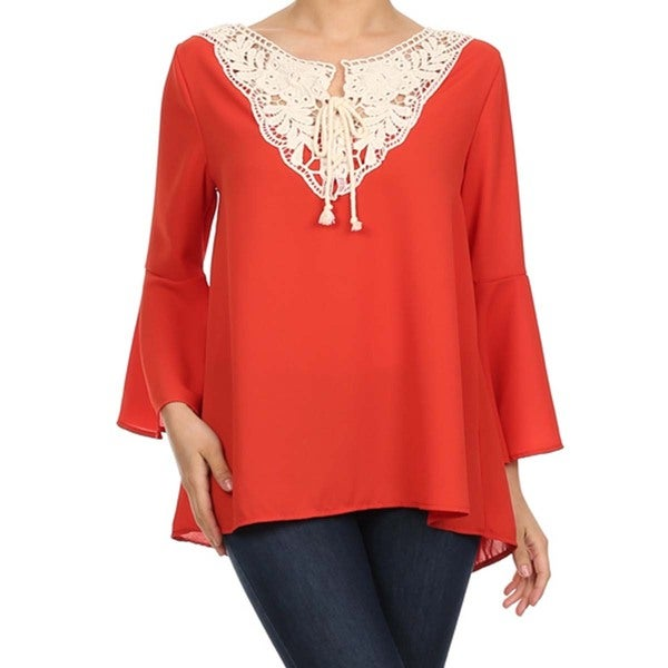 Women's Plus Size Top with Crochet Neckline