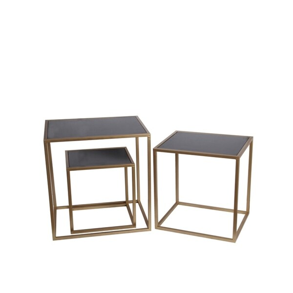 Privilege 3-piece Black/ Gold Iron Rectangular Tables Set