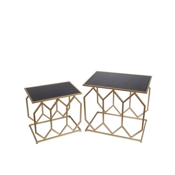 Privilege International Black/ Gold 2-Piece Rectangle Iron Tables
