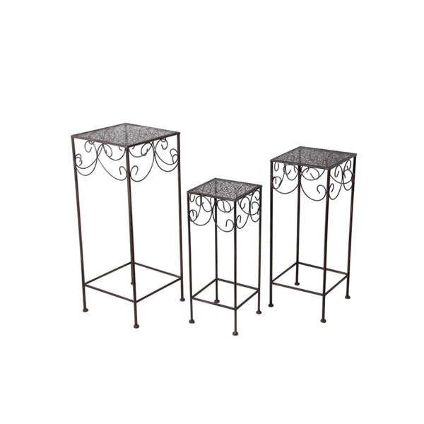 Privilege Black Square Plant Stands (Set of 3)