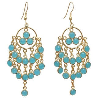 Handcrafted Gold-plated Aqua Chalcedony Earrings (India)