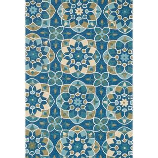 Hand-hooked Charlotte Blue/ Yellow Kaleidoscope Rug (7'6 x 9'6)