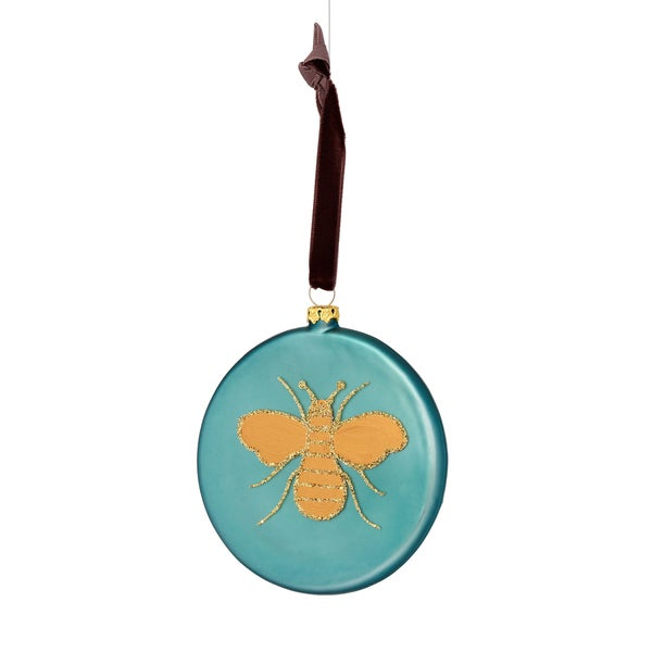 Glass Disk with Glitter Bee Ornament