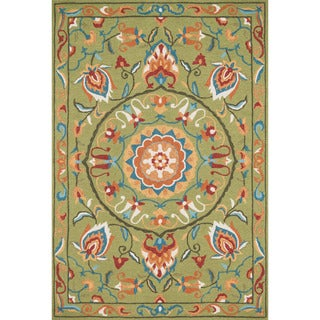 Hand-hooked Charlotte Green/ Multi Rug (2'3 x 3'9)