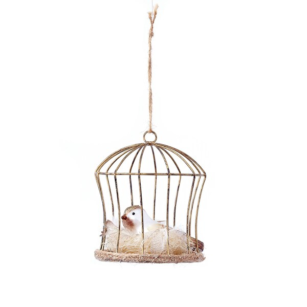 Bird in Cage with Nest Ornament