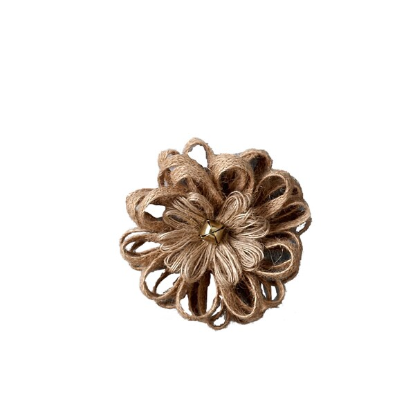 Jute Ribbon Flower Magnet Clip