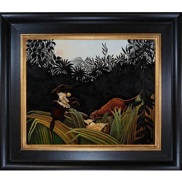 Henri Rousseau 'Eclaireurs Attaques par un Tigre' Hand Painted Framed Canvas Art