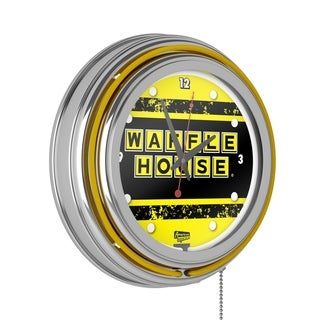 Waffle House Chrome Double Ring Neon Clock