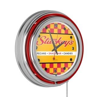 Stuckeys Chrome Double Ring Neon Clock