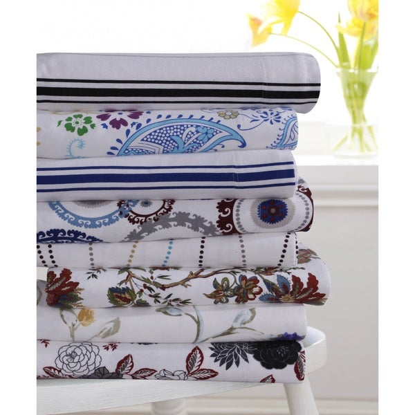 Flannel 170-GSM Printed Extra Deep Pocket Sheet Set or Pillowcase Separates