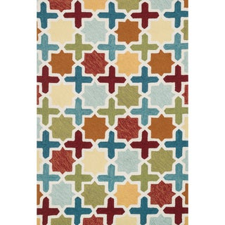 Hand-hooked Charlotte Red/ Multi Moroccan Mosaic Rug (7'6 x 9'6)
