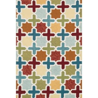 Hand-hooked Charlotte Red/ Multi Moroccan Mosaic Rug (3'6 x 5'6)