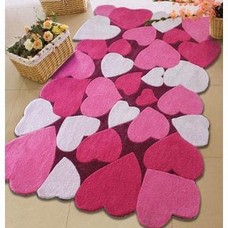 Hand-tufted Love Pink Hearts Kids' Rug (4' x 6')