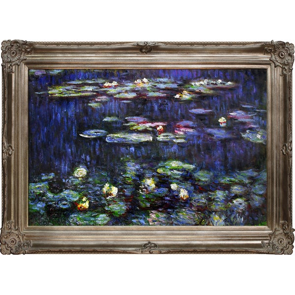 Claude Monet 'Water Lilies, Green Reflections' (right half - detail) Hand Painted Framed Canvas Art
