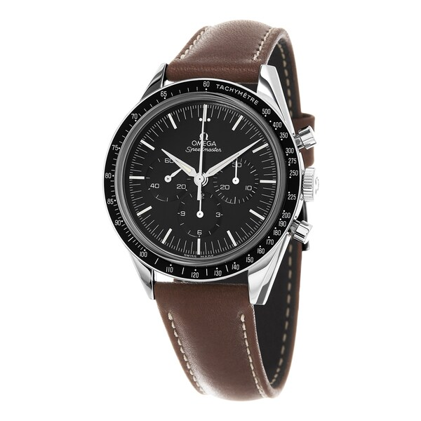 Omega Men's 311.32.40.30.01.001 'Moon watch' Black Dial Brown Leather Strap Numbered Edition SwissChrono Automatic Watch