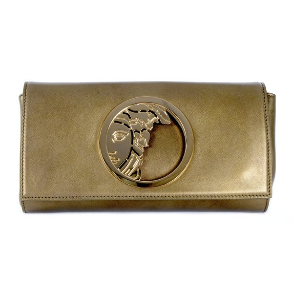 Versace Collection Vitello Perlato Gold Shoulder Bag