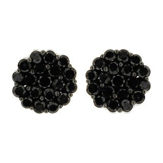 10k Black Gold 1 3/5ct TDW Round Black Diamond Composite Stud Earrings