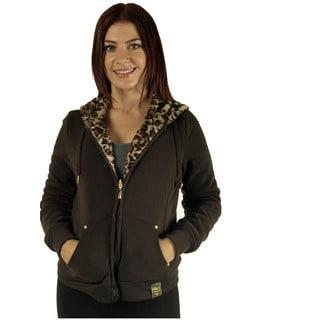 Women's Reversible Animal Print Faux Fur Chocolate Hoodie Jacket