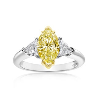 SummerRose Platinum and 18k Yellow Gold 2 5/8ct TDW Fancy Light Yellow Marquise and Trillion Diamond 3-stone Ring