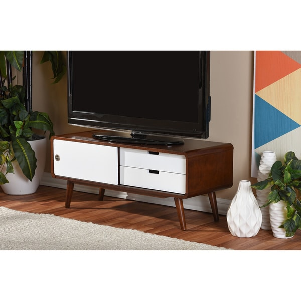 Armani Mid-century Modern Dark Walnut and White Two-tone Finish 2-drawer with Sliding Door Wood TV Cabinet