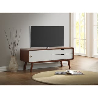 Baxton Studio Armani Mid-century Dark Walnut and White Two-tone Finish 2-drawer with Sliding Door Wood TV Cabinet
