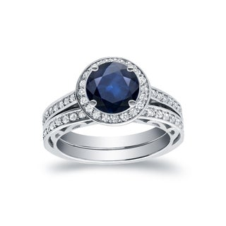 Auriya 14k White Gold 1ct TDW Blue Sapphire and 3/4ct TDW Diamond Bridal Ring Set (H-I, SI1-SI2)
