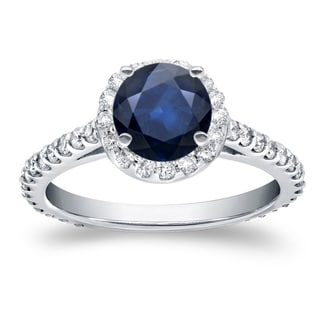Auriya 14k White Gold 7/8ct Blue Sapphire and 3/5ct TDW Diamond Halo Ring (H-I, SI1-SI2)