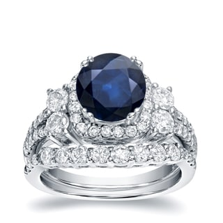 Auriya 14k White Gold 1ct Blue Sapphire and 1 1/3ct TDW Round Diamond Bridal Ring Set (H-I, I1-I2)