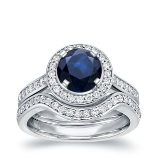 Auriya 14k White Gold 1ct Blue Sapphire and 1/2ct TDW Round Diamond Bridal Ring Set (H-I, SI1-SI2)