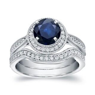 Auriya 14k White Gold 1ct Blue Sapphire and 3/5ct TDW Round Diamond Bridal Ring Set (H-I, SI1-SI2)