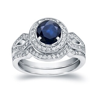 Auriya 14k White Gold 1ct Blue Sapphire and 2/5ct TDW Round Diamond Bridal Ring Set (H-I, SI1-SI2)