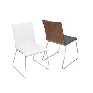 LumiSource Stainless Steel and Walnut Wood Mara Chair