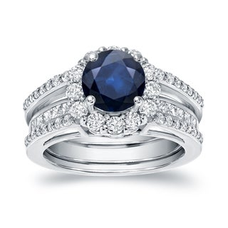 Auriya 14k White Gold 7/8ct Blue Sapphire and 1 1/6ct TDW Round Diamond Bridal Ring Set (H-I, SI1-SI2)