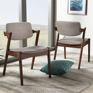 Elegant Mid-Century Modern Dark Walnut Finished Upholstered 2-piece Dining Armchair Set