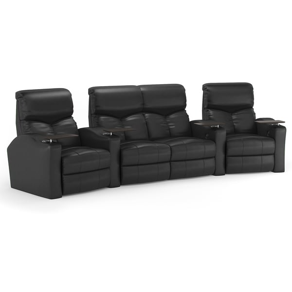 Octane Bolt Xs400 Curved With Middle Loveseat Power Recline Black Premium Leather Home Theater